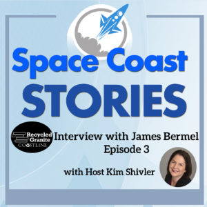 Podcast coverart with headshot of Kim Shivler and logo of Recycled Granite Coastline.