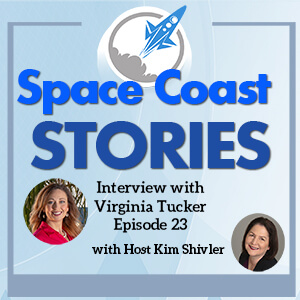 Space Coast Stories Cover Art with images of Virginia Tucker and Kim Shivler